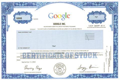 Waardepapier aandelen Google kopen